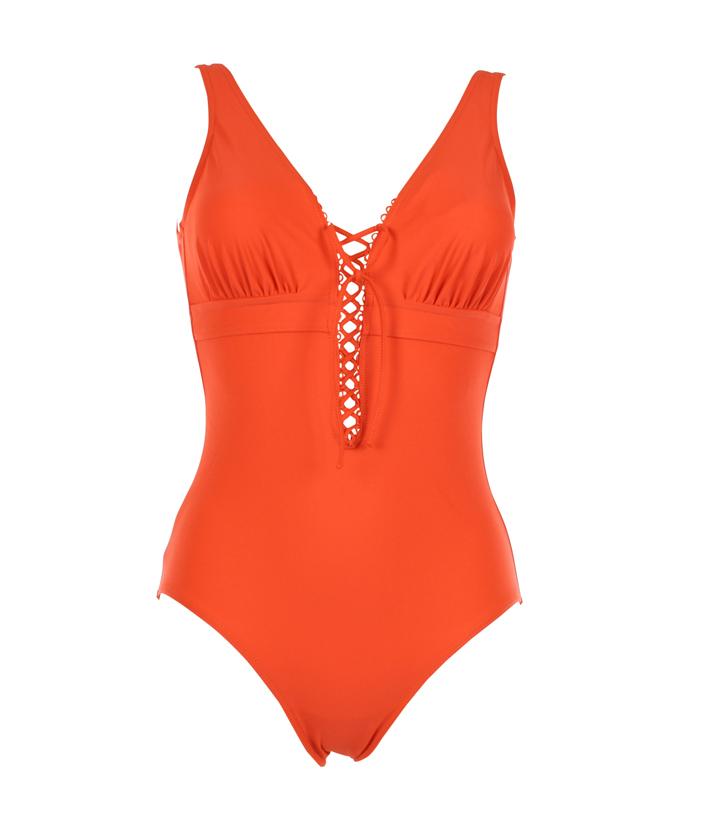 JANINE ROBIN, Bassin d'Arcachon. Modèle Monaco, une pièce armature uni orange avec laçage. Prix : 169 €