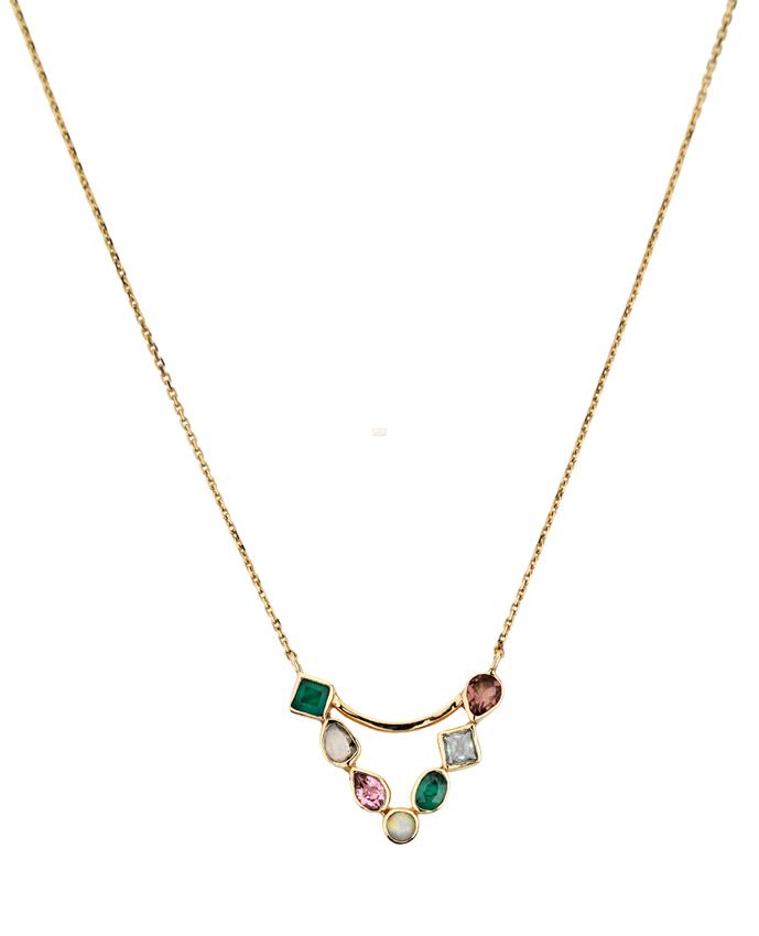 Pendentif Triangle or jaune, émeraudes, diamant polki, tourmaline rose et aigue marine 1100€ Abïs chez Hod