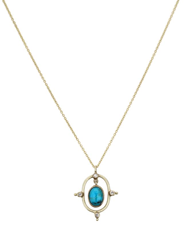 Abïs chez Hod. Pendentif en or jaune turquoise et quatre diamants monté sur une chaîne en or jaune. 765 €