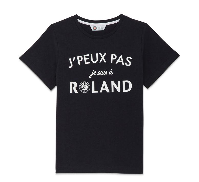 """T-shirt col rond capsule """"j'peux pas je suis à Roland"""", homme, marine ou noir, 35 €."""