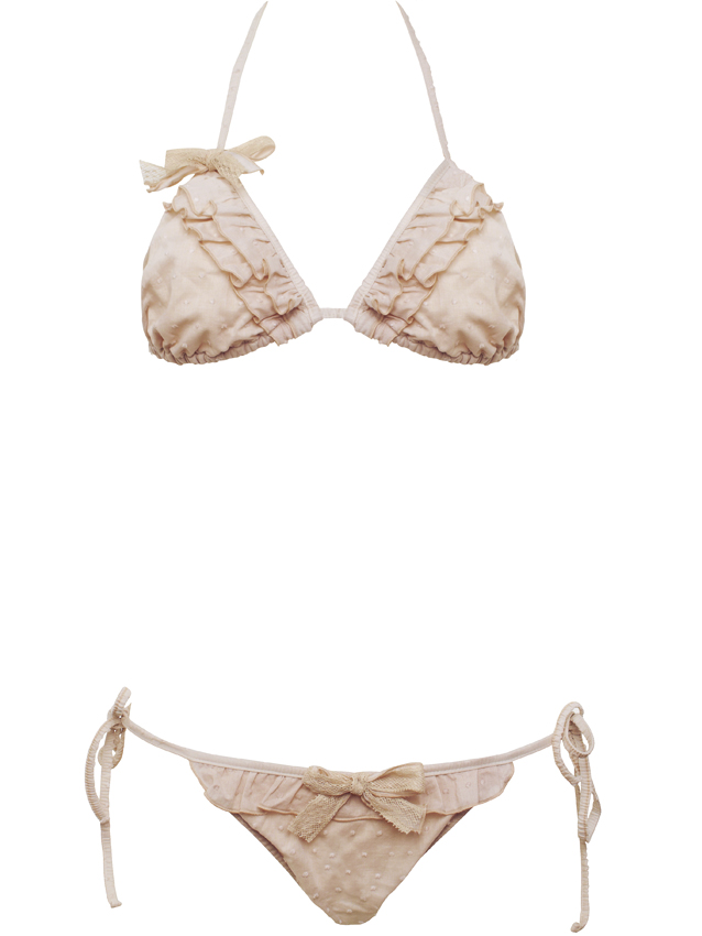 "MAUD & MARJORIE. Be a pin up ! On a soudain envie de chanter I wanna Be loved By you, pas vous ? Deux pièces triangle ""My Heart belongs to daddy  Nude"" en coton rose poudré. Haut 89 €, bikini 55 €."
