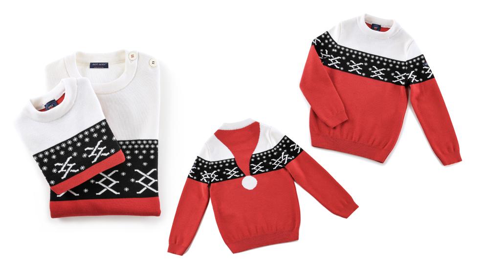 Le pull « Gang de Noël » by Saint James est proposé au prix de 129 € pour les hommes, 119 € pour les femmes et 79 € pour les enfants.