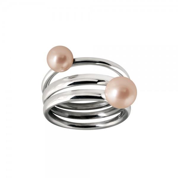 Claverin Joaillerie. Bague triple anneau en argent 925 rhodié, ornée de deux perles de culture roses d'eau douce de 6-6.5 mm et 7-7.5 mm. 490 €