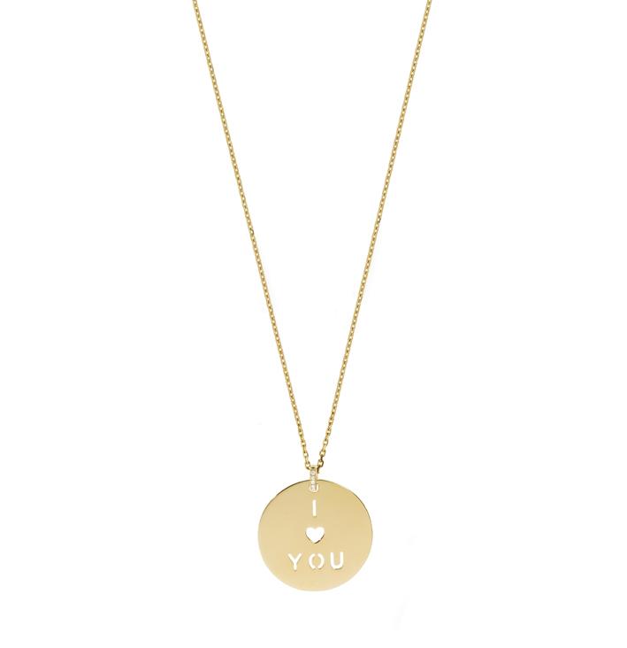 Nouvelle collection de Médailles en or jaune 18 carats à messages signées Laura Sayan Jewelry. 1 200 € avec la chaîne.
