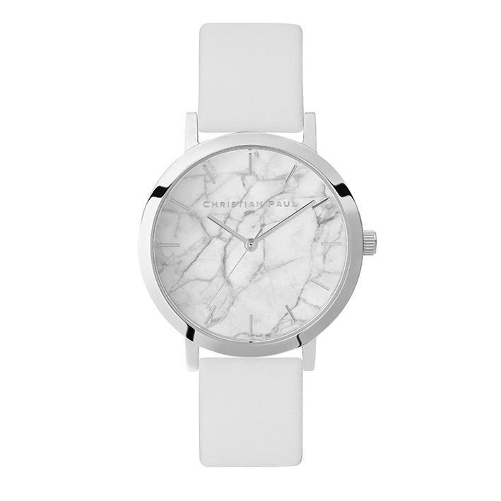CHRISTIAN PAUL, la marque australienne présente sa nouvelle collection printemps… Acier et cuir blanc, ici le modèle Marble.