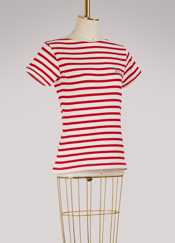 LA MAISON LABICHE décline sa marinière en coton rouge et blanc, Blondie brodée sur le cœur. So pretty ! 65 €
