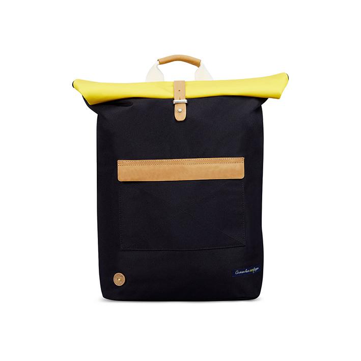 FAGUO X ARMOR LUX, sac à dos CYCLING, marine et jaune, 80 €.