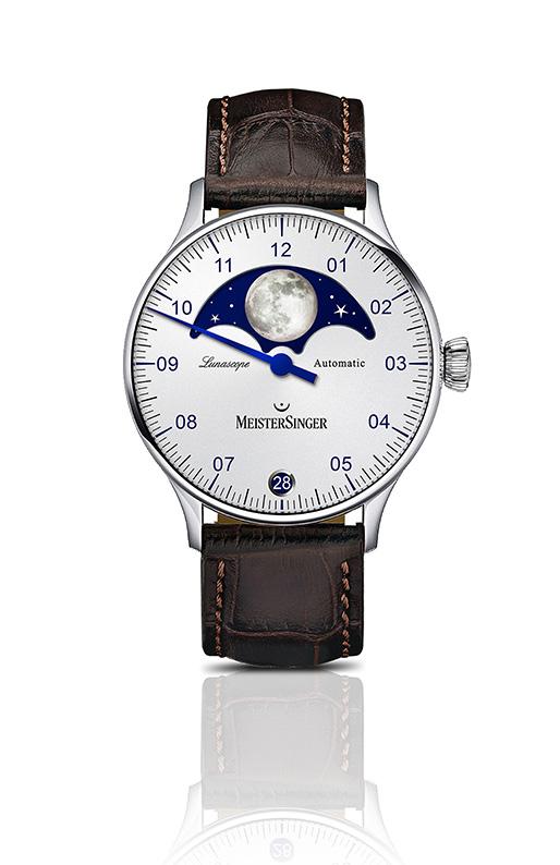Meistersinger Lunascope cadran opalin argenté (réf. LS901)