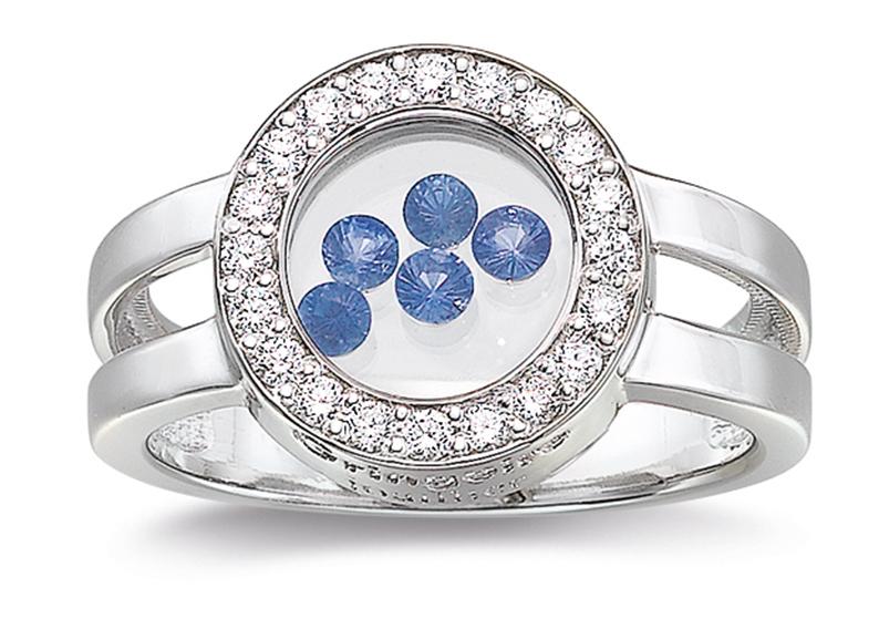 La bague Dancing Diamonds « In » version ronde sertie et modules de saphirs bleus… Avouez que c'est à craquer !