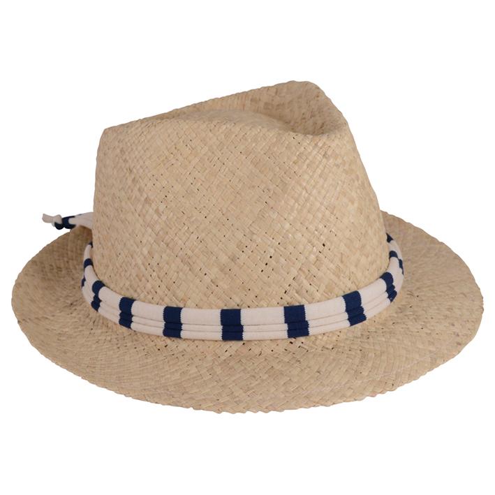 Sandrine de Courcy, chapeau en paille tressée, lien en authentique marinière créée et fabriquée en Bretagne. Sequin en nacre à l'arrière du chapeau gravé du logo de la marque. 28 €