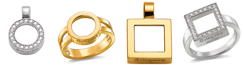 Les montures Dancing Diamonds « In » : pendentifs, bagues, format carré ou rond, sertis ou non, en or blanc ou en or jaune… Faites vos jeux !