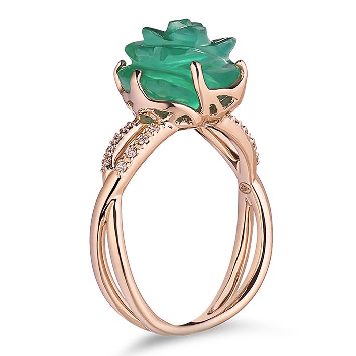 Guérin Rose or rose diamants et agate verte 750