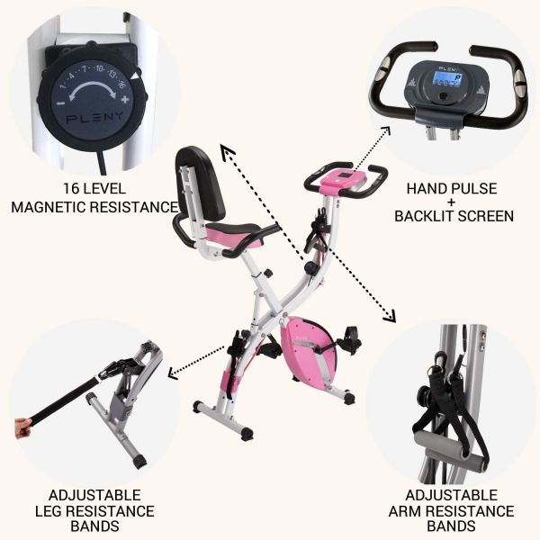 PLENY 3-in-1 Total Body Workout Exercise Bike w:Backlit Screen ShoppingExclusives