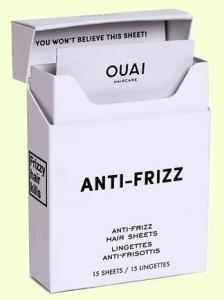 Ouai Haircare Anti-Frizz Hair Sheets are sold in a neat flip-top box filled with 15 individually packaged sheets. So easy to grab one and go...or stash a packet in your wallet, bike bag, desk, or pocket.