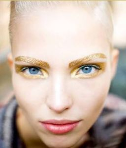 Make blue eyes POP! with Gold or Copper Metallic Brows and Eyeshadow