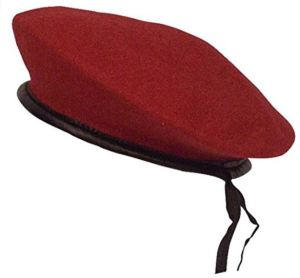 Rothco Monty Beret in Red with Black Trim also comes in Black and Forest Green