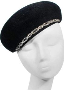 Schiaparelli France 1960's Beret with Rhinestone Trim