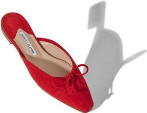 Ballerimu Suede Flat, Manolo Blahnik, in a Beautiful Red Tone for Spring