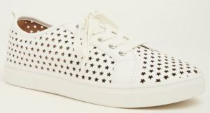 Perforated Sneakers Stay Cool in Warmer Weather. Torrid Starry Laser Cut Sneaker in White Faux Leather, Fits a Wide Foot