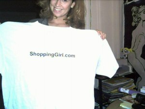 "Paula aka ""Skully"" displaying one of Founder Tom's plus-sized ShoppingGirl.com T-shirts, vintage 1998."
