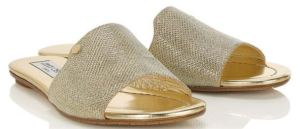 Some Kind of Magic - Nanda Gold Lame Glitter Slides with a Laid Back Attitude, by Jimmy Choo