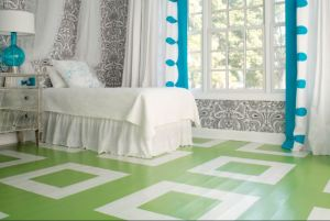 A painted floor and combination of bold choices results in a surprisingly restful space; HirshfieldsWordpress.Com