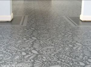 Cannot afford tiles-no problem-elaborately stenciled floor is much cheaper and easier to do than it looks....LovelyEtc.Com
