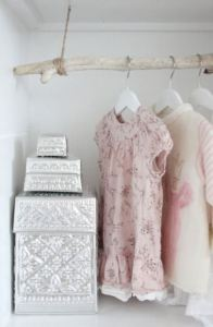 Example of a branch as a closet rod on PetiteAbode Pinterest