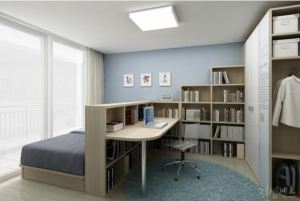 For someone who needs a lotta office in the bedroom, here is a serene, well designed approach easy to replicate inexpensively. Photo via Pinterest