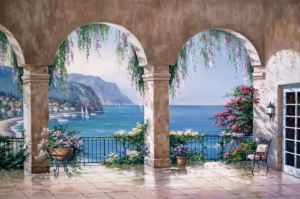 The EGI Mediterranean Arch mural will create a pretty view in her bedroom. MuralsYourWay.Com