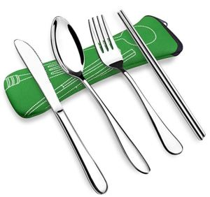 ATC VICBAY Stainless Steel Travel Cutlery Set. Popular Amazon Pick designed like typical tableware. Chopsticks included. Add a stainless steel straw to the kit if you like.