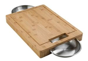 Napoleon Grill 70012 Commercial model features two stainless steel bowls inside the cutting board, useful for gypsy wagon lifestyles.