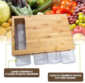 Quality Bamboo Chopping Board ups the game with four pull-out bins and a sweep opening, a great van-sized kitchen-counter-and-utensil-drawers option.