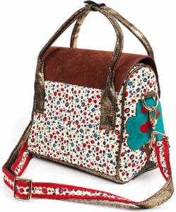 Back of Dog House Purse: Field of flowers & berries; A Heart-Fruit tree adorns the side.