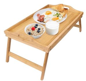 The highly rated Greenco bamboo tray is not only super-useful, but it looks nice. Bamboo is sturdy and an environmentally friendly choice.