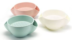 These personal sized strainer-bowl combos may meet your van life needs. Removable strainer works as a colander. The multi-use bowl features flared sides. Combined with the strainer, serve snacks like peanuts, dumping the shells through the flared sides into the bowl underneath.
