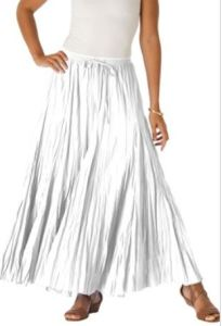 Worried about see-through issues with white Summer apparel? A cotton crinkle skirt's fullness and pleats help to overcome this problem. JessicaLondon.com has it in other colors and prints too, in regular and plus sizes.
