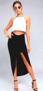 Scenic Drive Black Wrap Maxi Skirt features a mini skirt underneath the front detailing. A fun and current option at Lulus.com.