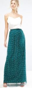 Tall ShoppingGirls are not forgotten. A mermaid-worthy, lined tulle maxi is covered with faux pearls. The layered Forest Green color has enough blue to make this work with ocean, tropical, or jungle themed looks, and it will be great for Christmas events next holiday season, too. USAsos.com.