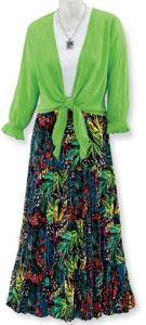 Light Bright. Rainforest Fantasy Skirt features a night tropical design with vintage 80's colors that are nearly neon. SerengetiFashions.com.