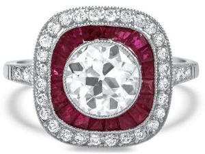 You can see at a glance why this vintage 1930's Art Deco-era ring is not cheap (at US $14,500.00). Dripping with diamonds and rubies tucked into a perfectly proportioned platinum design, and already a legit heirloom, it works with contemporary fashion still. This one will be in style forever. Another unique treasure available at BrilliantEarth.com.