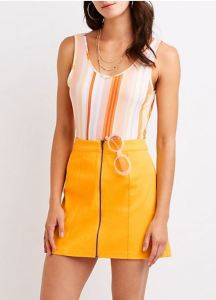 Mini skirts that zip up the front make covering up at the beach or poolside quick and easy, even if your skin is still damp. This one, in bright yellow twill, is a good choice; twill is cool, but has enough body to limit wrinkling when stashed in a beach tote. charlotterusse.com.