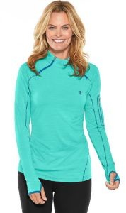ShoppingGirls will love the zippered bicep pocket with an eyelet drain hole on the left arm of this rashguard. They'll also love the relaxed fit, dual-zip raglan design, UPF 50+ Sun protection, easy care, and hip colors. coolibar.com.