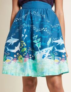 Under The Sea. And sharks...lots of sharks. Wear a pretty skirt, that's not too short, to the aquarium, water park, or on a cruise. Make Summer even more fun. Style Study A-Line Skirt in Sharks. Modcloth.com.