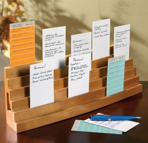 Tired of shuffling loose note cards amongst a pile of textbooks, or watching them blow hither and yon every time a breeze floats through the window? The Levenger Note Card Bleacher will hold index and note cards, of varying sizes, in stacked ranks at a convenient upright angle while you study. The cards are secured in slender slots cut across each level. This is one of those items that you might not think to get that is incredibly useful. Even better, it does duty as a message center, to-do rack, photo display, mail center, and bulletin board alternative, both during and after school.