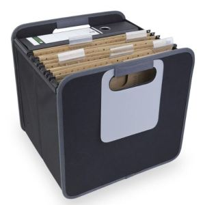 "Hanging files are just about the quickest, easiest way to sort and stash papers. Levenger's Office Foldable Storage Box knocks down for storage. Open, it features two mesh pockets, a large, whiteboard style labeling area and, even better, smooth side rails to support hanging files. It also has nice, large handles for easy carrying. And of course, you could use this for storing other things besides files and binders. An old-school tip: the area beneath hanging files makes a great secret stash spot. Just cover your stash with something innocuous, like a few ""spare"" folders. Sure, it's not super-secure, but it's a place few people ever think to look."