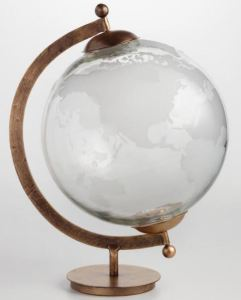 Like the inspirational symbolism of a globe, but don't really need one for practical study purposes? Consider this beautiful glass option. Mouth-blown and hand-etched, it is a world filled with light. Crafty tip: For ShoppingGirls who aren't into the brass look, paint the metal with a glossy color of your choice, for a modern take on globalism. Worldmarket.com.
