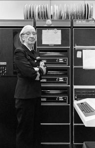 Admit it, Guys: You Owe Her. Computer programming pioneer, Admiral Grace Murray Hopper, was already a computer legend by the time this photo was taken in her Washington, D.C. office in 1978. Great photo via Wikipedia with a copyright attributed to Lynn Gilbert.
