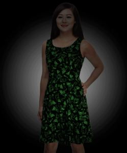 Another cute option for work, especially if you are on the night shift or work in a dark environment. Glow-In-The-Dark Skeleton Kitty Skater Dress has the spirit of Halloween in a less costumey form. thinkgeek.com.