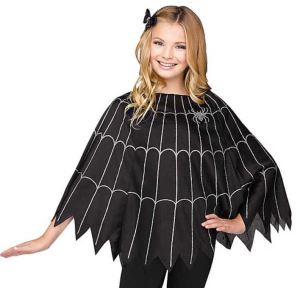 This Girl's Spiderweb Poncho is a great option for parties, carnivals, or other events where a festive theme vibe is desirable, but a full costume feels like too much. orientaltrading.com.